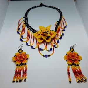 Stunning Beadwork Necklace and Earrings
